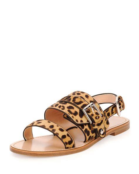 leopard sandals flat lyst gianvito band leopard print flat