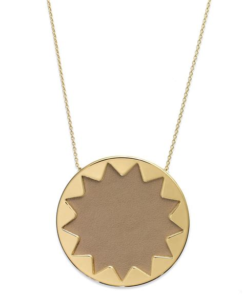 House Of Harlow Jewelry by House Of Harlow 1960 Gold Tone Khaki Leather Sunburst