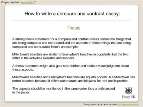 how to write a compare and contrast paper how to write a compare and contrast essay essay writing