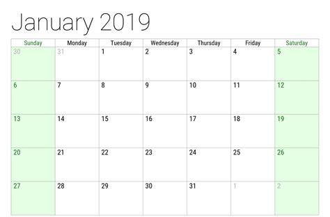 printable monthly calendar january print
