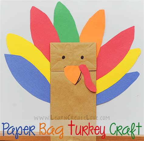paper turkey crafts paper bag turkey craft