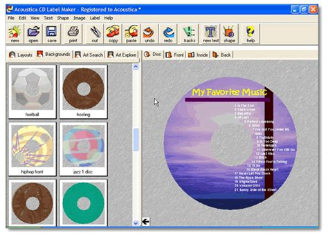 cd track listing template acoustica cd label maker easily create custom and
