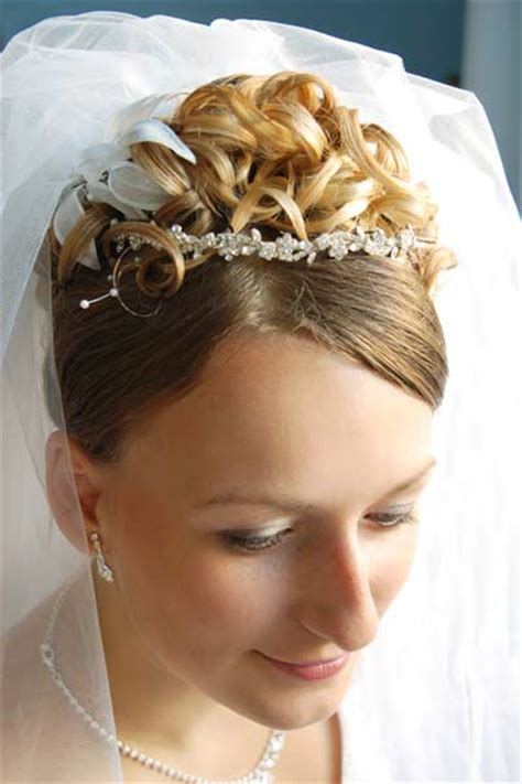 wedding hairstyles curly hair veil bridal updo hairstyles veil tiara