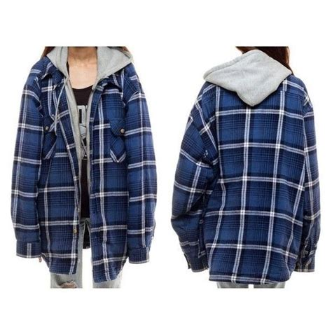 Hoodie Zipper Anak Robin 313 Clothing hooded flannel shirt plaid jacket 90s grunge oversized quilted lu liked on polyvore