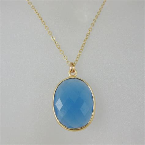 16 Necklace Gold Blue bezel gemstone oval pendant necklace gold plated chain