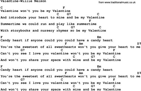 play the valentines song country willie nelson lyrics and chords