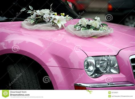 Decorate Wedding Car With Pink Flowers by Pink Wedding Car With A Bouquet Of Flowers Stock Image