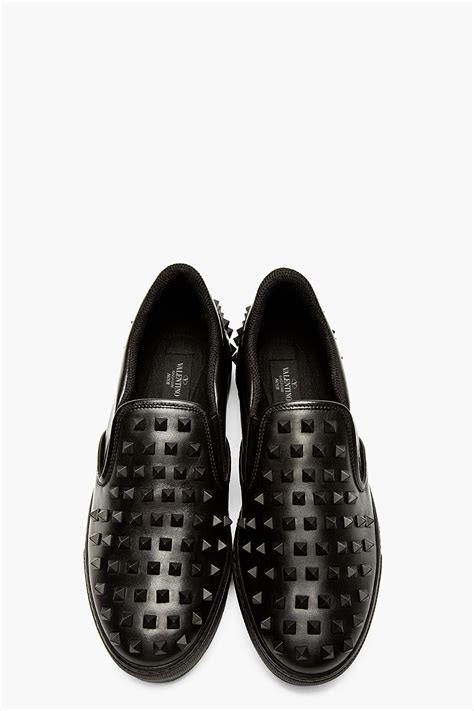 valentino studded leather slip on sneakers in black for
