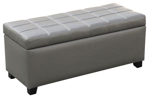 grey leather storage bench leather storage bench transitional accent and storage