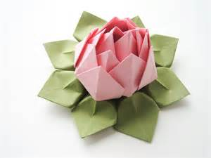 Origami Lotus Flower Handmade Origami Lotus Flower Blossom Pink And Moss Green