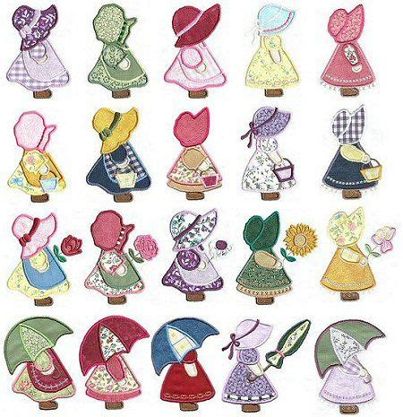 sunbonnet sue applique 150 applique sunbonnet sue and sam embroidery designs