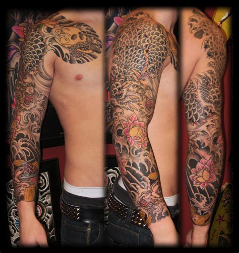 koi dragon sleeve tattoo designs koi skull lotus tattoos