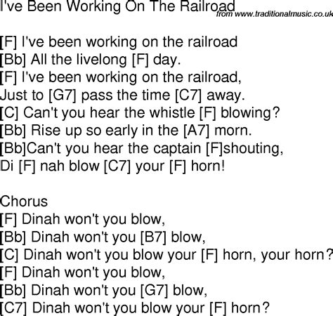 printable lyrics to i ve been working on the railroad old time song lyrics with chords for i ve been working on