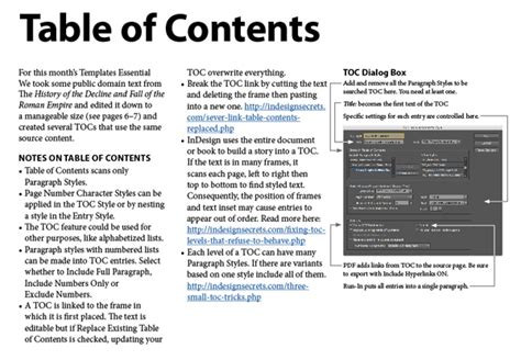 indesign template essentials tables of contents