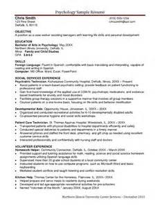 Psychology Resume Sles by Sle Resume Psychology Graduate School