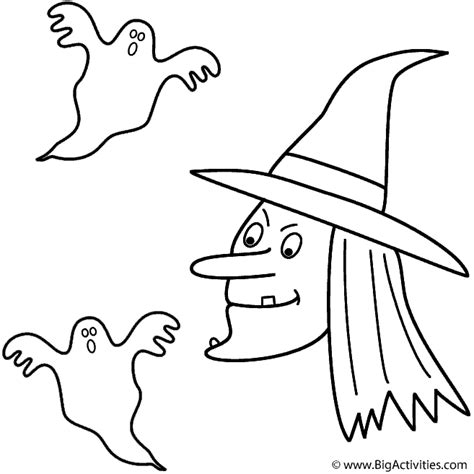 large ghost coloring page witch with ghosts coloring page halloween