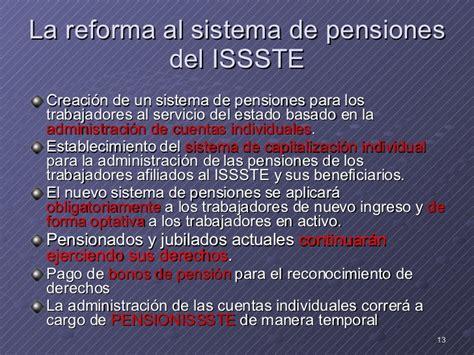 reformas a la ley del issste 2016 03 sistema de pensiones en la nueva ley del issste