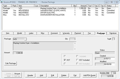 sle invoice with hst selling a package on an invoice