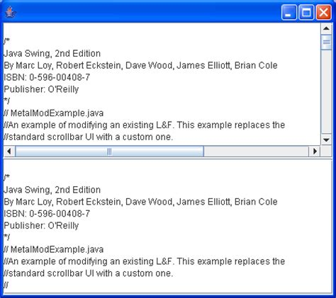 java swing scrollbar replaces the standard scrollbar ui with a custom one ui