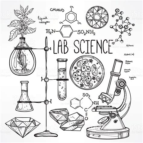 doodle homework science science lab icons sketch set stock vector
