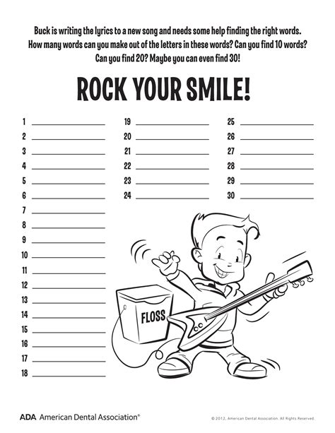 11 dental health activities puzzle printable