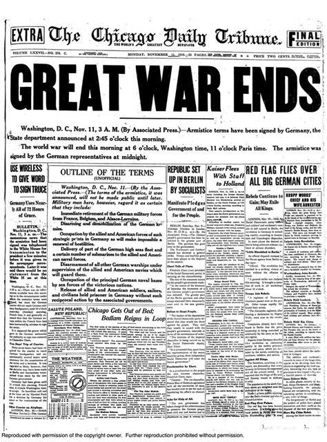 world war i november 11 1918 chicago daily tribune