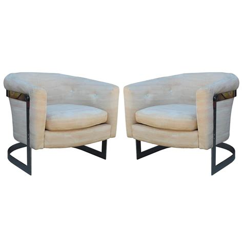 Milo Baughman Lounge Chairs pair of milo baughman chrome cantilevered barrel lounge