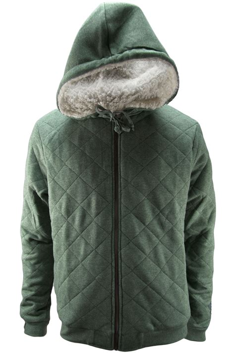 Mens Quilted Hoodie by Mens Quilted Sherpa Lined Zip Up Hoodie