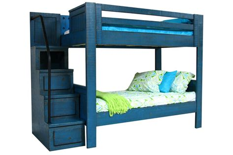 blue twin over twin bunk bed with staircase at gardner white