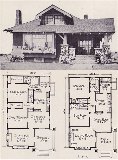 bungalow style floor plans 1922 craftsman style bunglow house plan no l 114 e w