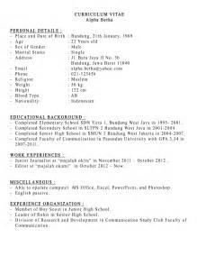 contoh curiculum vitaea dalam bahasa inggris contoh resume bahasa inggris resume pemohon pembantu