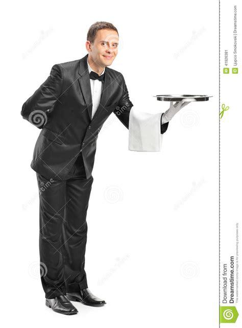 professional waiter holding a tray stock image image of