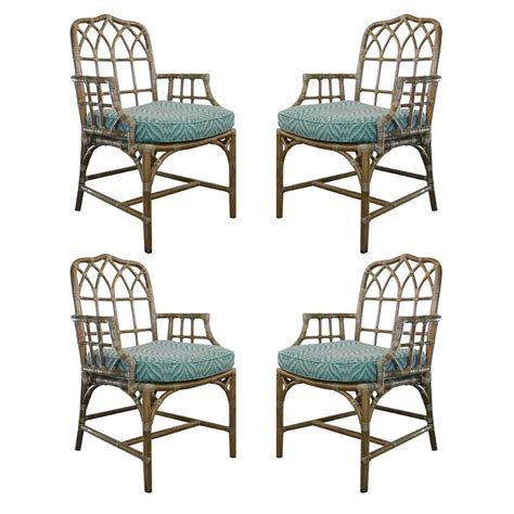 Mcguire Chairs by Set Of Four Rattan And Leather Mcguire Chairs At 1stdibs