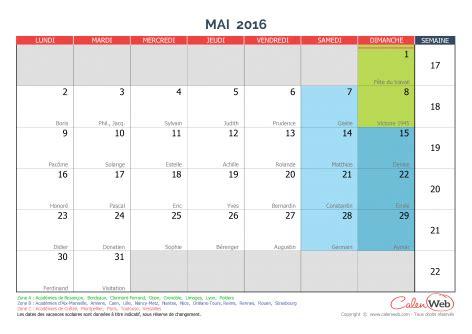 Calendrier 2016 Et 2017 Avec Jours Feries Calendrier Mensuel Mois De Mai 2016 Avec F 234 Tes Jours