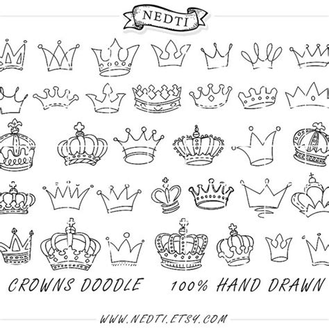 Crowns Doodle Vector Prince Crown Digital Por