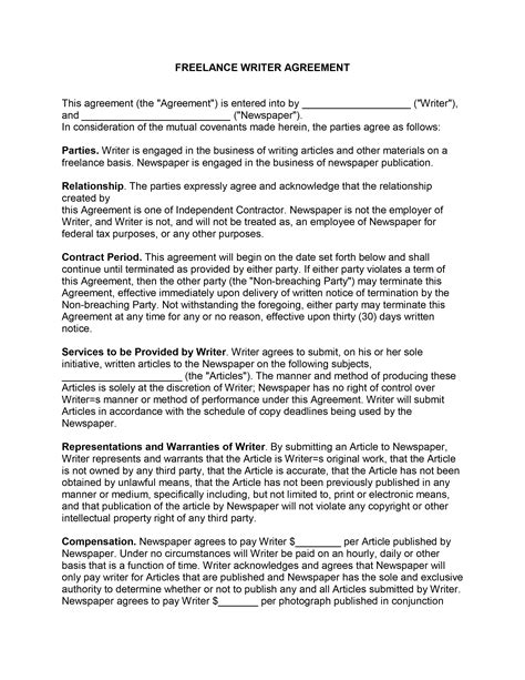Letter Of Agreement Freelance Writing Freelance Contract Template Freewordtemplates Net