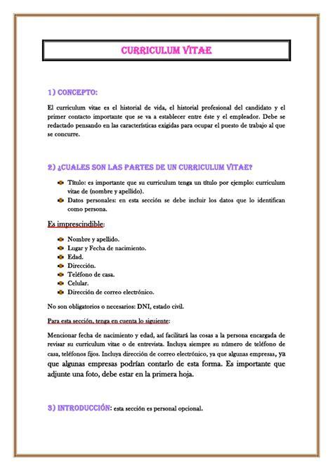 Modelo De Curriculum Vitae Y Sus Partes trabajo pr 225 ctico cv