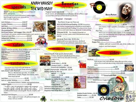 jamaican dinner menu menu for rocksteady jamaican cafe 1179 s federal