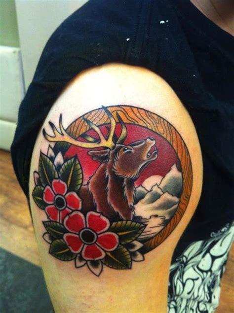 tattoo old school girly reindeer tattoo by lauren tattoo tattoos neo