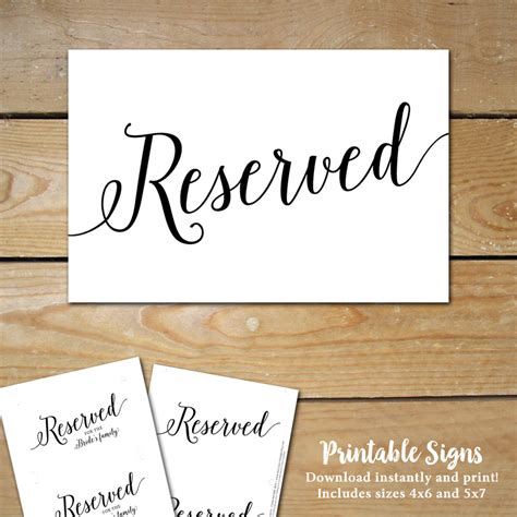 printable reserved signs for wedding wedding reserved table