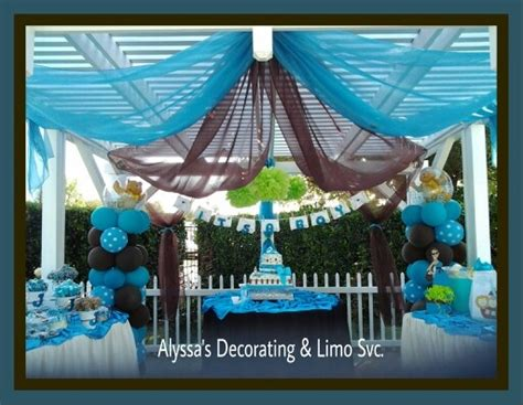 Brown And Baby Blue Baby Shower Decorations by Possibly Use Plastic Table Cloths For The Drape Blue And
