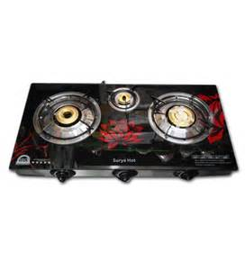 6 Burner Cooktop Surya Crystal Three Burner Auto Ignition Gas Oven With