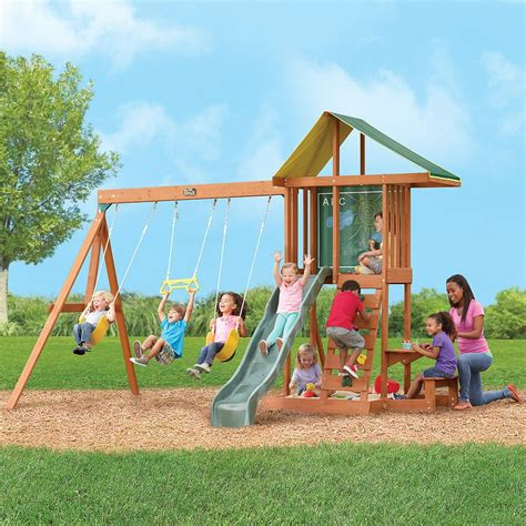 wooden outdoor swing set rainbow swing sets kids furniture ideas