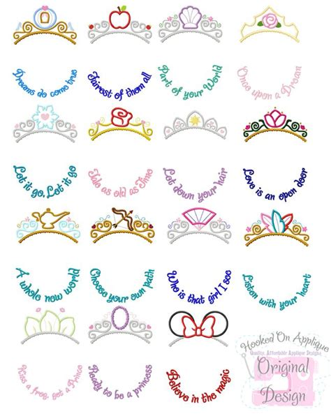 disney princess with tattoos tiara phrase bundle disney tatting