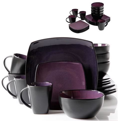 purple dinnerware set dining plates dishes bowls mugs piece 16 place 4 new black ebay
