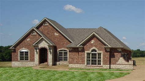 Acadian Style House by Front Elevation Full Brick With Stone Accents Wightman