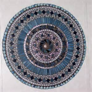 Decorative Tapestry Mosaic Wall Art Mixed Media Stained Glass Blue And Silver