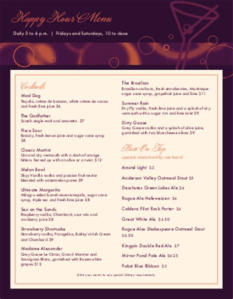 bar happy hour menu bar menus