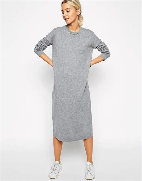Midi Jumper Dress asos white asos white knit midi jumper dress at asos
