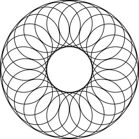 pattern art circle 24 overlapping circles about a center circle and inside a